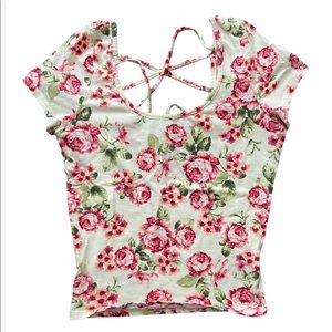 LA Hearts Floral Criss Cross Crop Top